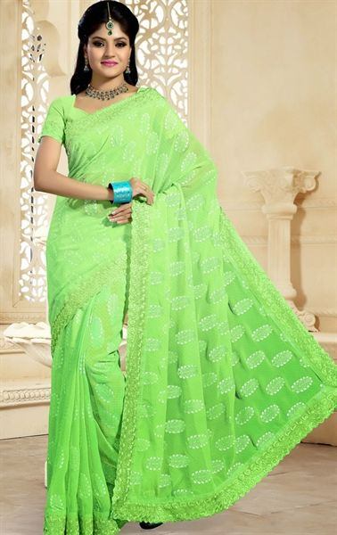 Picture of Chic Lime Green Color Fashionable Saree   Casual Sarees ...