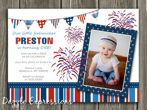 4th Of July Birthday Invitation Fireworks Patriotic Photo Birthday Invitations Birthday Invitations Printable Birthday Invitations