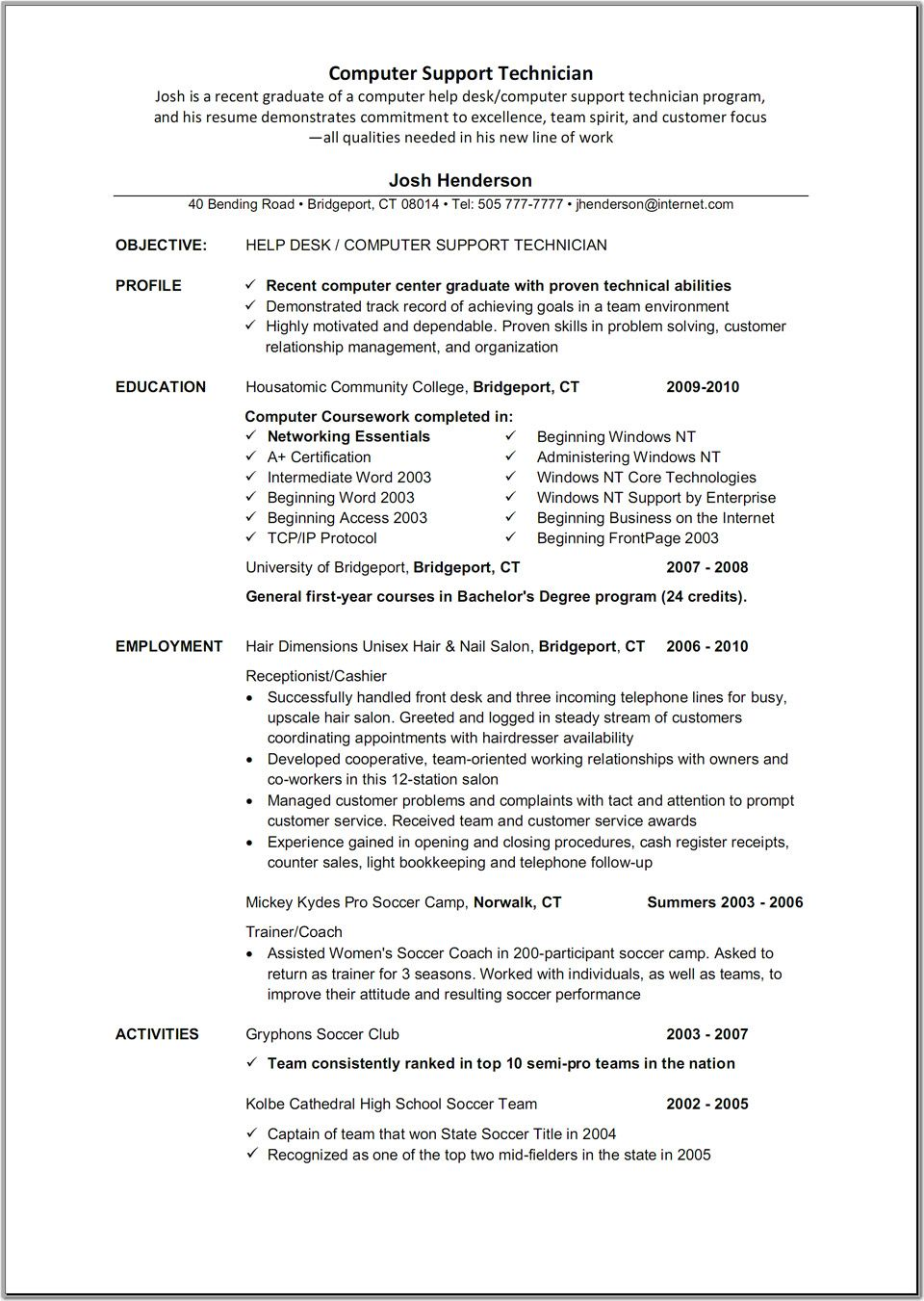 Computer Technician Sample Resume Alexa  Technician