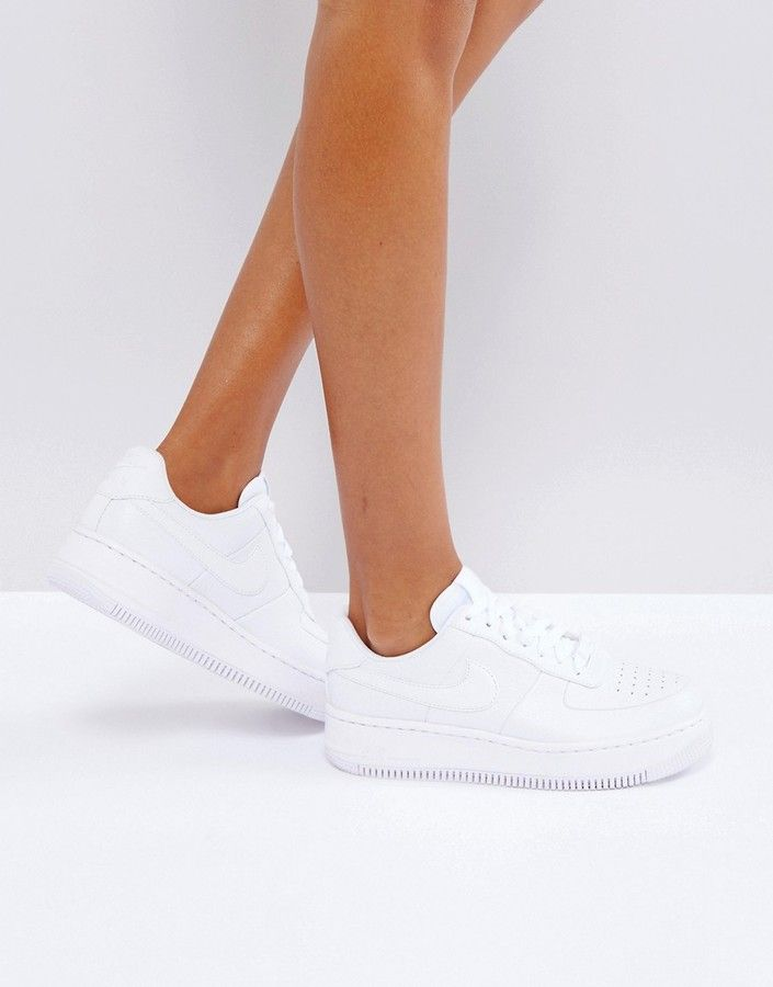 8babd263d4 Nike Air Force Upstep Platform Trainers In White | shoes in 2019 ...