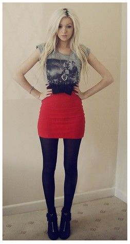 graphic tee high waist mini skirt bow belt tights ankle boots ...