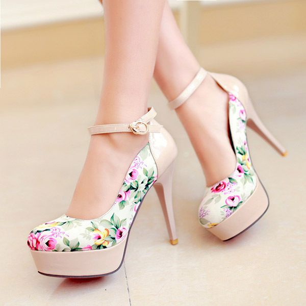 86c8c4588e9 Beige Women s Fashion Platform High Heel Ankle Strap Pumps Shoes -  19