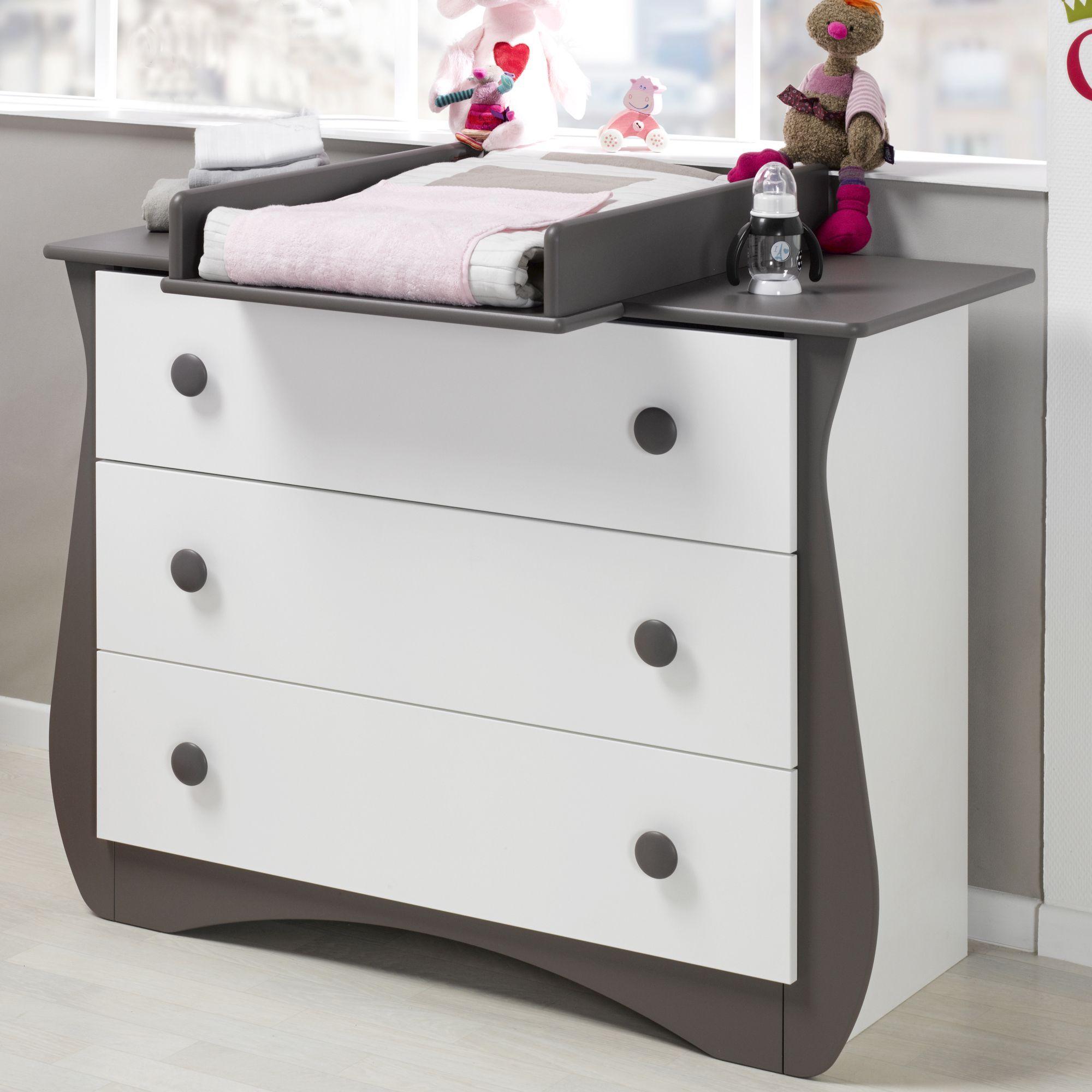 Commode 3 tiroirs blanche et taupe avec plan à langer - Loulou - Les ...
