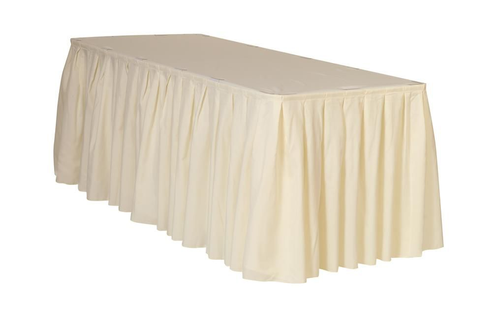 17 Ft X 29 Inch Polyester Pleated Table Skirt Ivory Wholesale