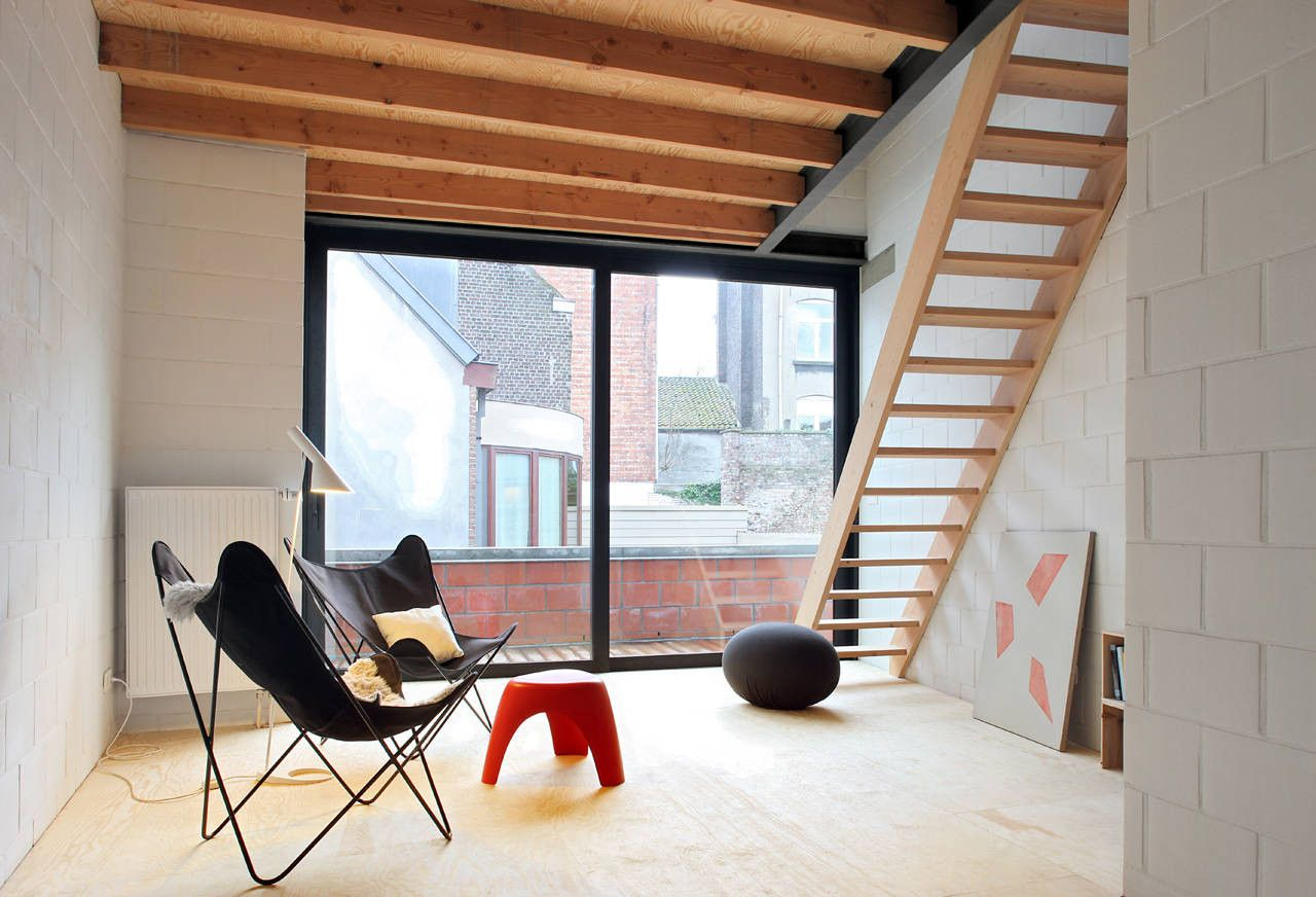 First Floor living room + ladder stair to bed level - Gelukstraat, Ghent, Belgium - Dierendonck Blancke