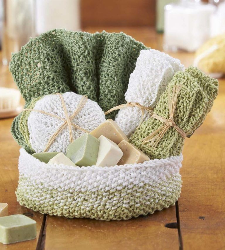Free Knitting Pattern For Aubrey Spa Set Knitted Wash Cloth