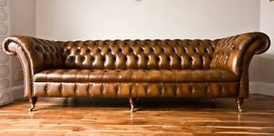 Modern Handmade Antique Gold Leather 4 Seater Chesterfield Sofa Couch Suite Ebay