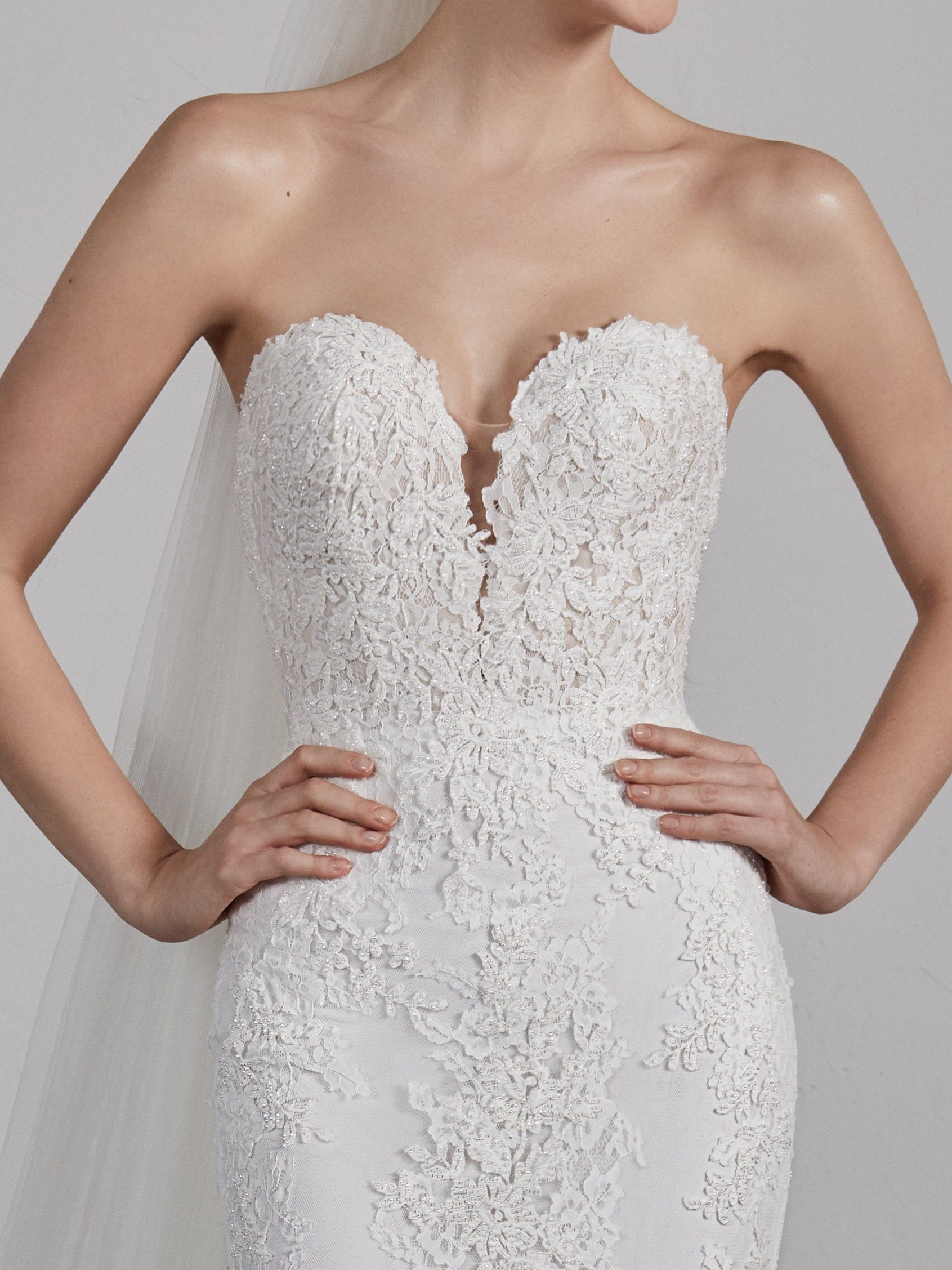 Pin By Virginia S Bridal On Brautkleider Pronovias Wedding Dress Amazing Wedding Dress Wedding Dresses Lace