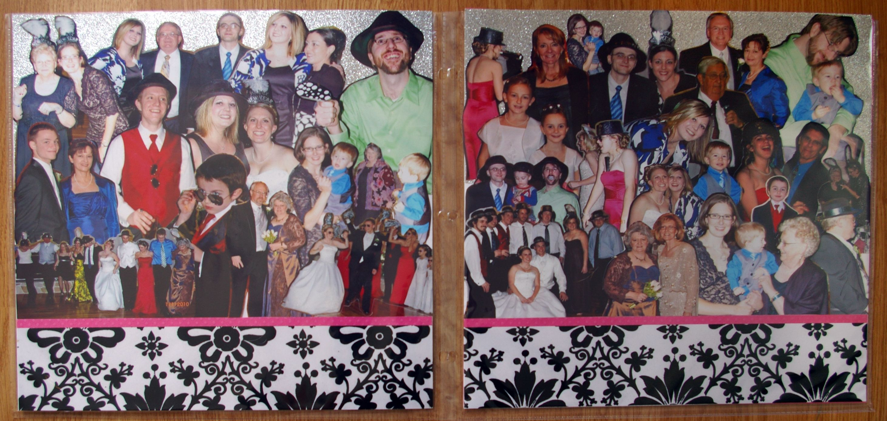 32 photos!  The best layout for a wedding or other event where you have tons of photos of smiling faces in groups. Cut around the people and make a collage.
