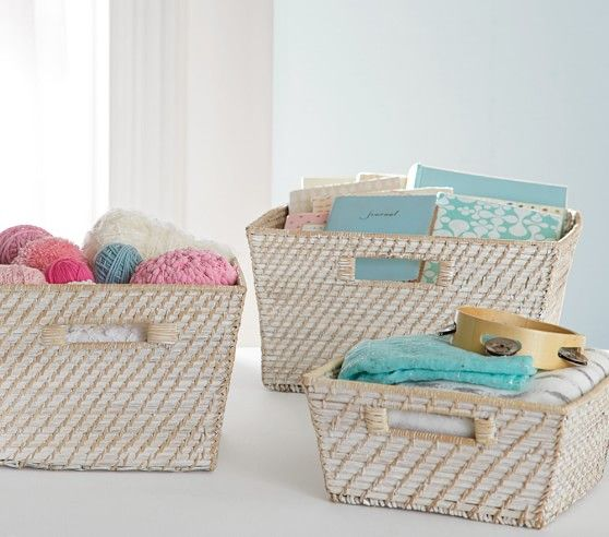 Quinn White Washed Baskets For Changing Table