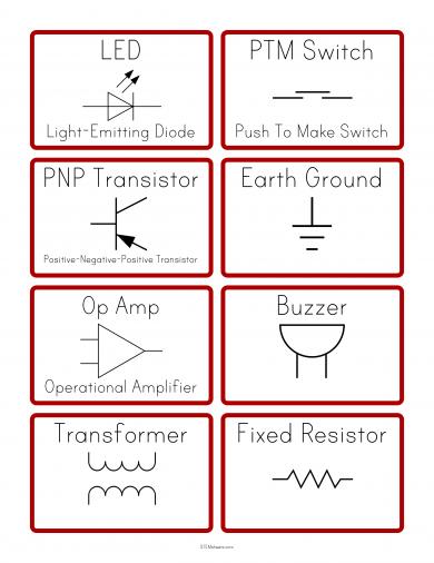 Electric Circuit Symbols Flashcards Electric Circuit Circuit Games Circuit