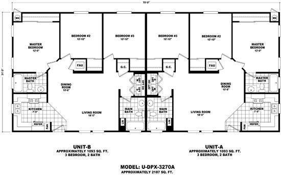 Duplex mobile home floor plans home manufactured for Duplex modular homes
