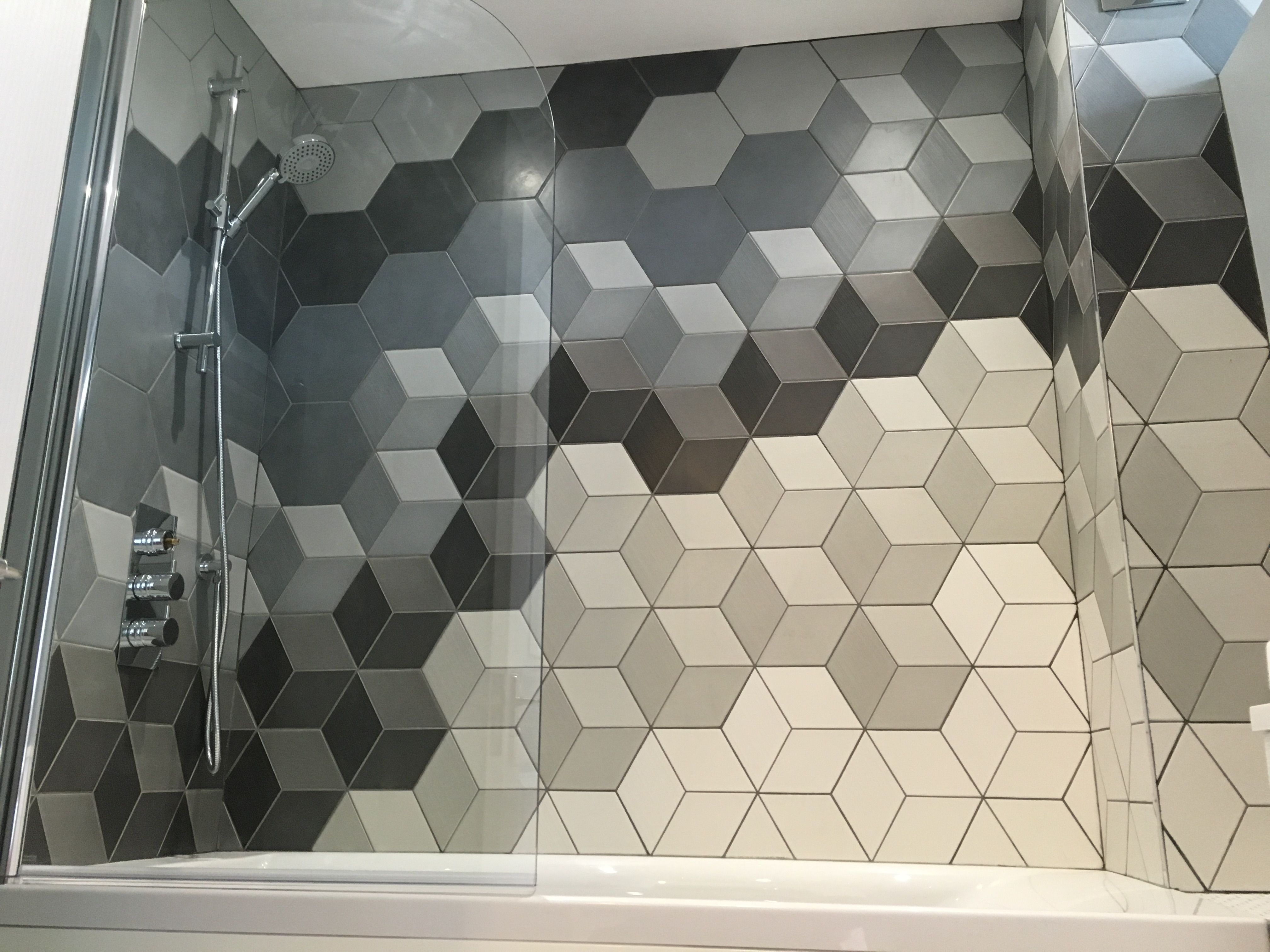 polished tile bathroom pin topps tiles hexagon carbon infusion