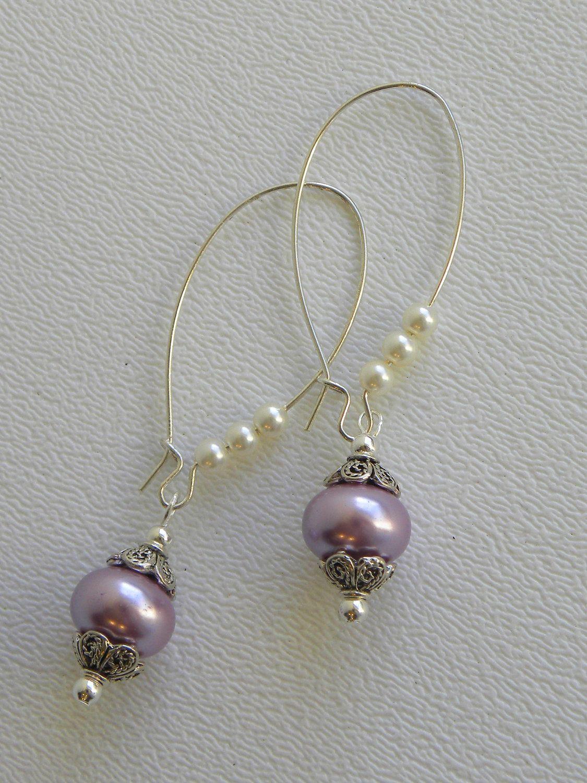 Lavender Rondell Pearl Handmade Beaded Earrings Silver Beads. $12.00 ...