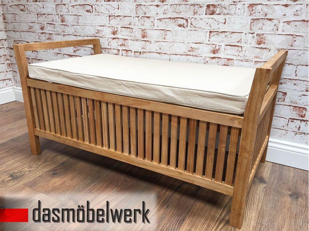 sitzbank holz kissen stauraum truhe truhenbank flur garten kiefer innen au en truhenbank. Black Bedroom Furniture Sets. Home Design Ideas