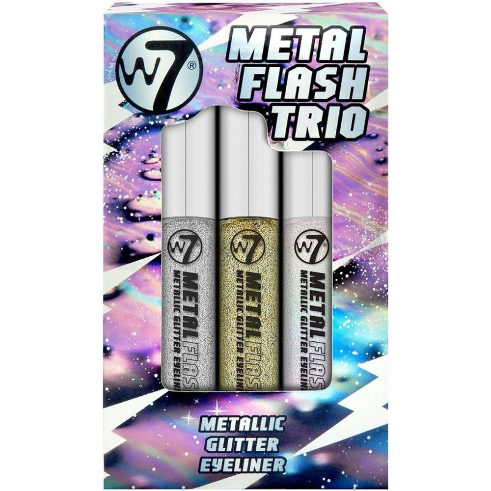 Who doesn't love glitter? The W7 Metal Flash Trio is a collection of three metallic glitter eyeliners to add some excitement to your eyes.    Apply using the fine brush provided and get glittered up and glow!    Each shade consists of a clear, liquid formula with coloured glitter pigments that dry on the lids without feeling heavy or cakey. Once dry, the glitter pigments are long lasting and keep their flashy effect throughout.    The three shades included are:     Glam Bam Liner   Glitzy #gli #glittereyeliner