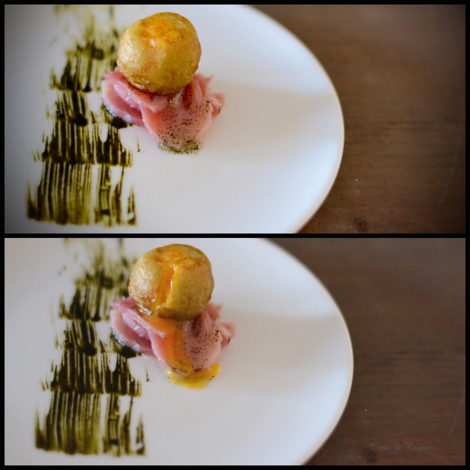 Yema líquida en crujiente de Plancton Marino con bonito curado. Blog Fresa & pimienta