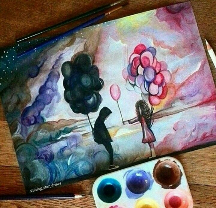 Sadness And Happiness With Images Art Painting Crafts