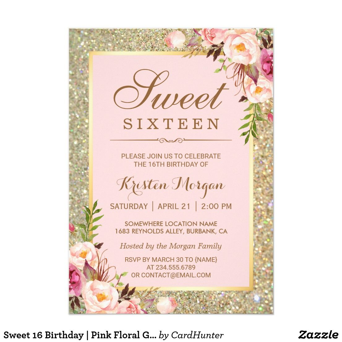 Sweet 16 birthday pink floral gold glitters card sweet 16 birthday pink floral gold glitters card filmwisefo Images