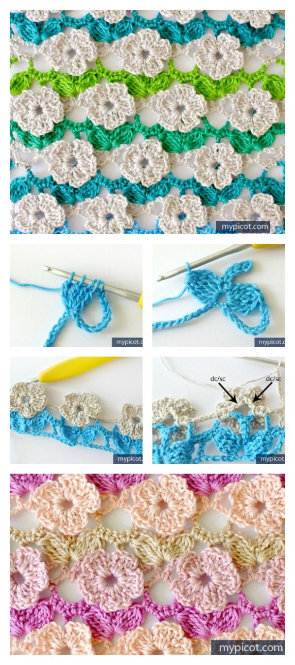 Crochet Flower Stitch Free Patterns | Puntadas, Flores de ganchillo ...