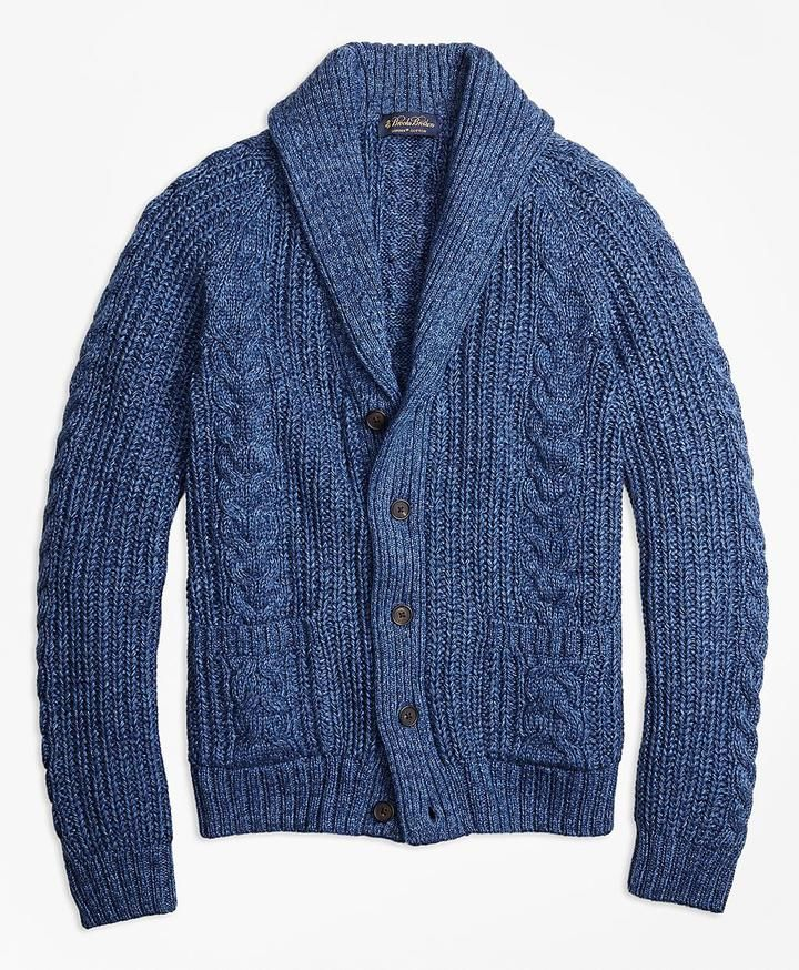 Supima® Cotton Marl Cable Knit Shawl Collar Cardigan | Mens ...