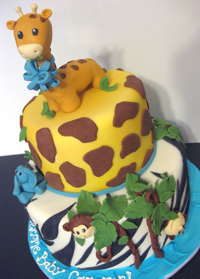 animial safari baby shower cake for boys (With images ...