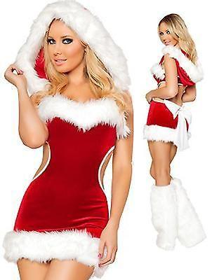 Women sexy  christmas santa costume  dress   hood outfit xmas  party fancy   dress  e35ba9828c80