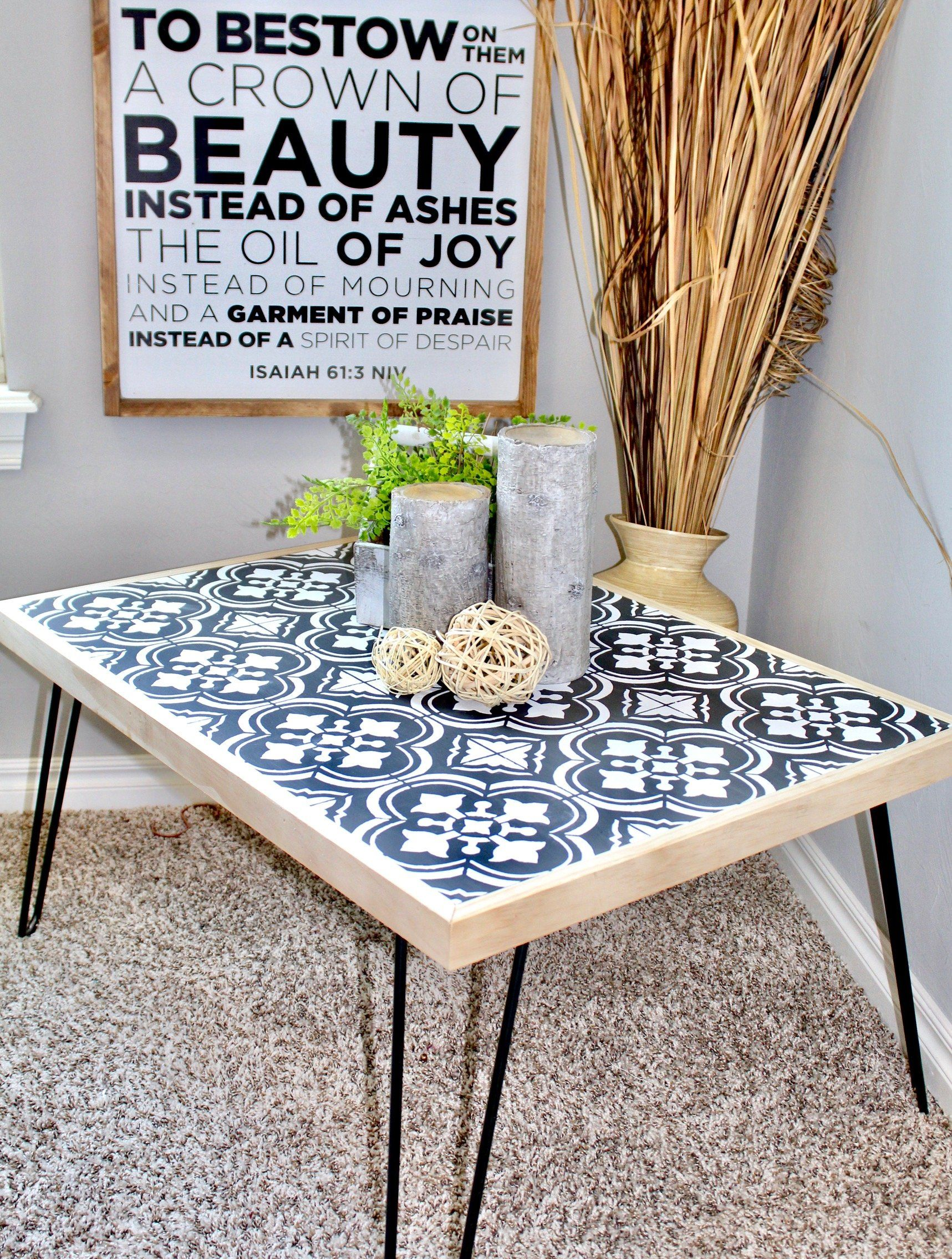 Tile Stenciled Hairpin Coffee Table | HandmadeHaven | DIY Tutorials