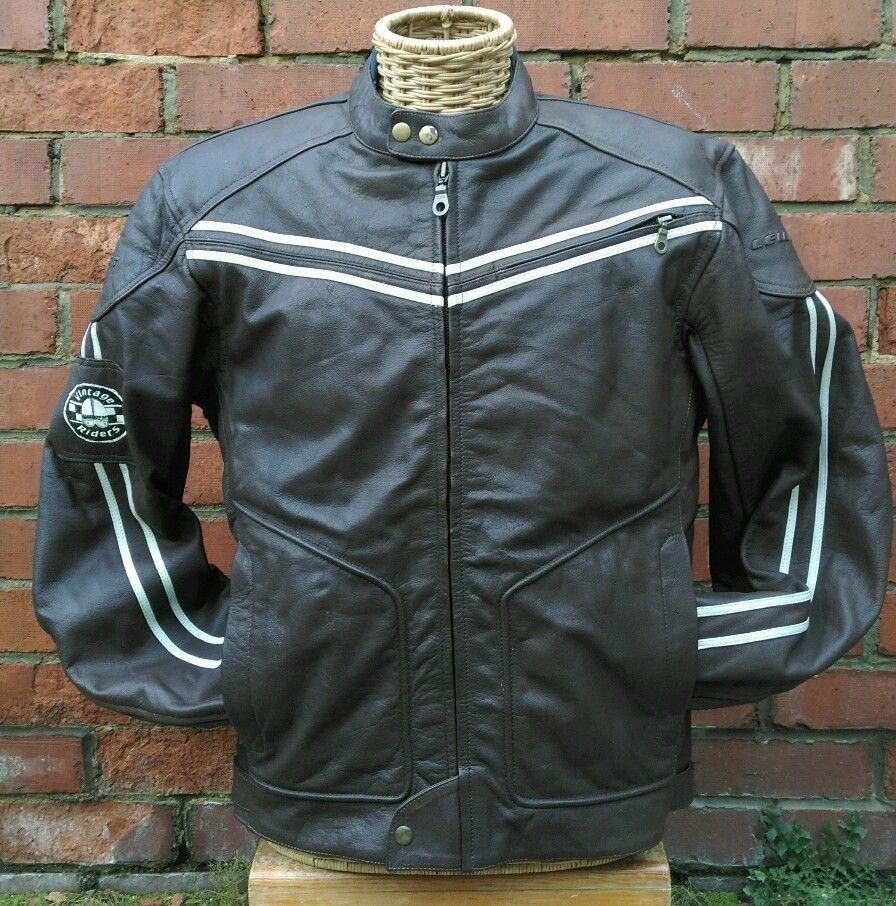 Lewis Vintage Riders Leather Cafe Racer Motorcycle Jacket Uk 44