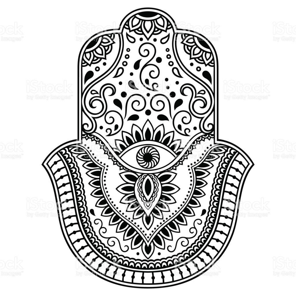 Vector Hamsa Hand Drawn Symbol Decorative Pattern In
