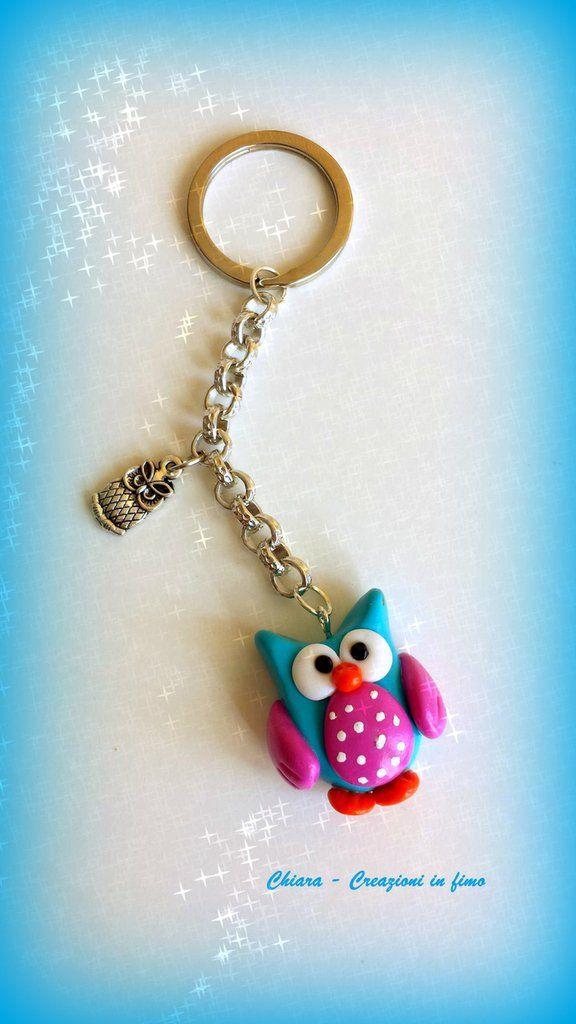 Portachiavi In Fimo Handmade Gufo Kawaii Miniature Idee Regalo