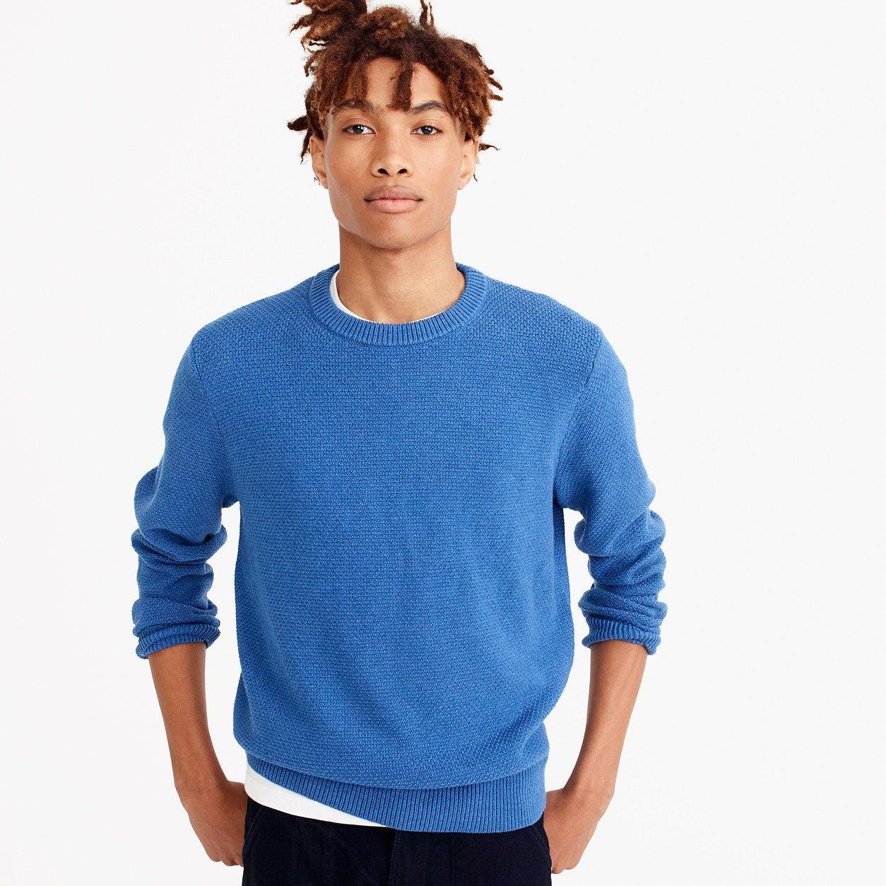 J.Crew Mens Cotton Crewneck Sweater In Moss Stitch (Size XXL