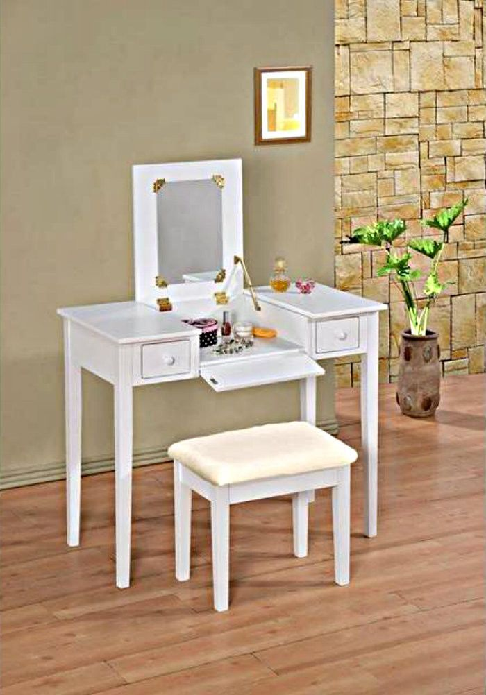 White Makeup Vanity Table Flip Top Vanity With Bench