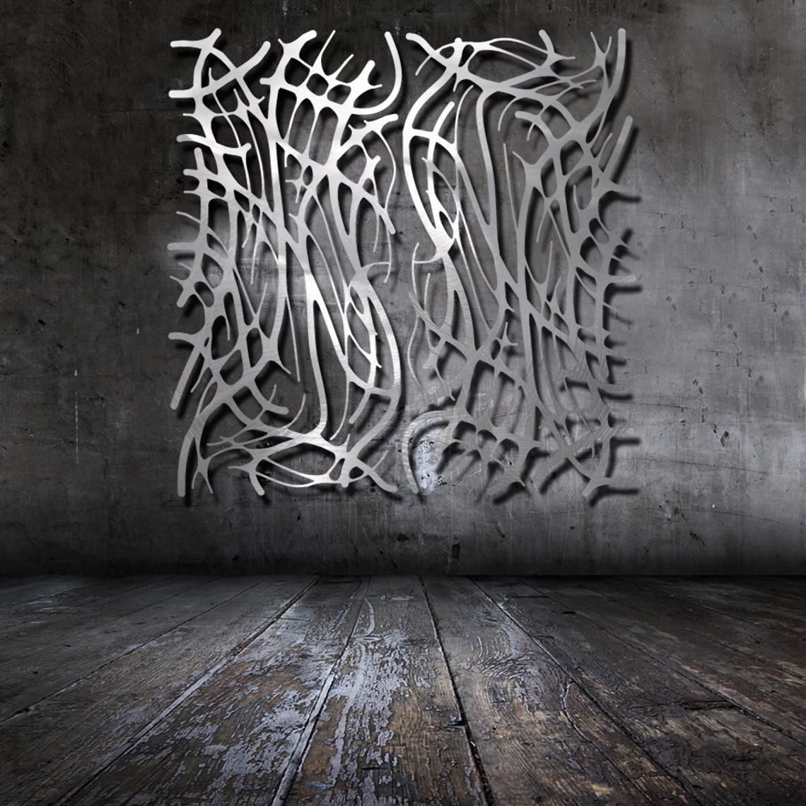 Modern Wall Art With Organic Forms Art Nouveau Web No 8 Pair Etsy Wall Sculpture Art Stainless Steel Wall Art Metal Wall Art