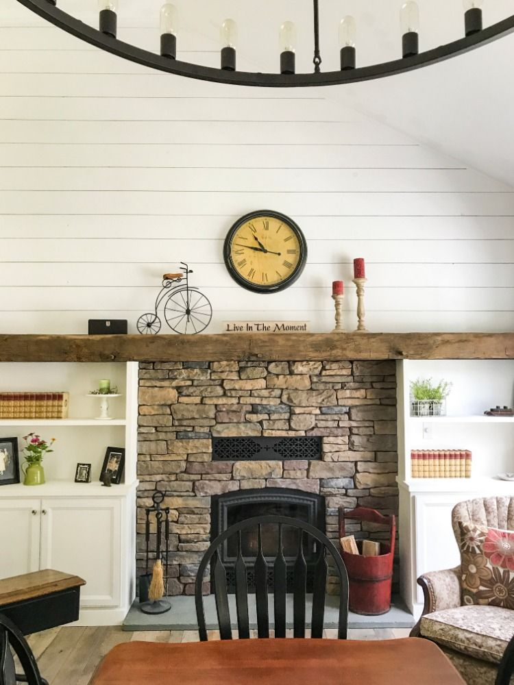 Shiplap And A Beauty Of A Mantle Create Your Own Fixer Upper Style House Shiplap Mantle Hand Hewn Beams Reclaimed Oak Flooring