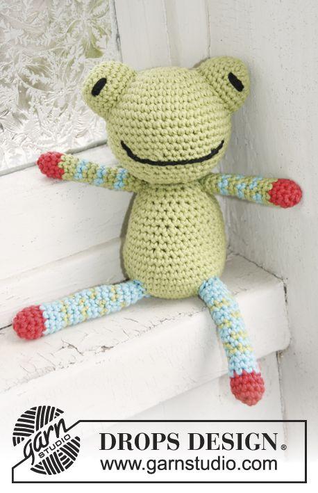 Crochet DROPS frog in \