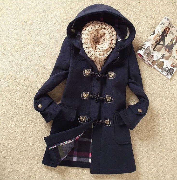 7ade07d8ff32c Fashion Womens Winter Coats Trench Coat Wool Jackets Toggle Duffel Parka  Anorak