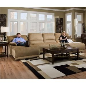 Catnapper - Grandover Two Chaise Sectional Sofa Includes LSF Power Reclining Chaise 2 Armless Chairs and a RSF Power Reclining Chaise in Sandstone Color - & Grandover Four Person