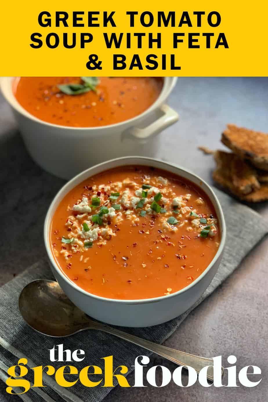 Greek Tomato Soup With Feta Basil Recipe In 2020 Feta Stuffed Peppers Soup