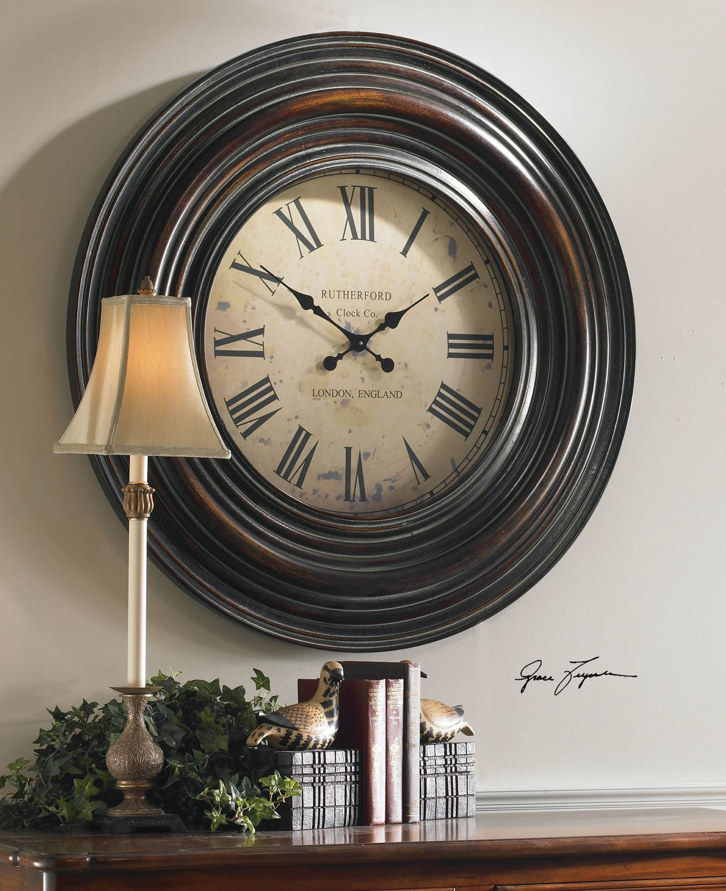 """Trudy 38"""" Wooden Wall Clock"""