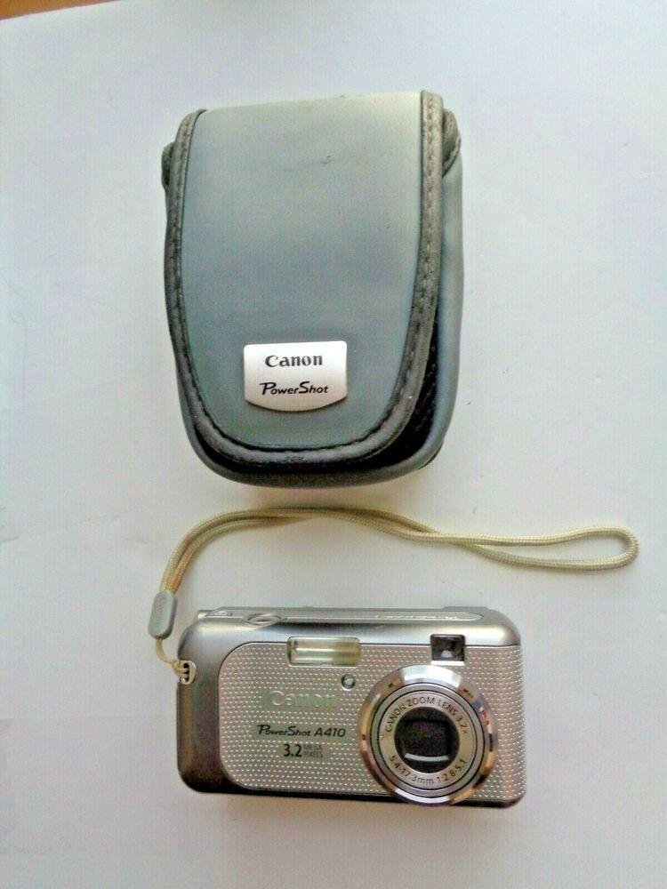 Canon Powershot A410 3 2mp Digital Camera Silver Point Shoot Case And Card Canon Powershot Canon Powershot Digital Camera