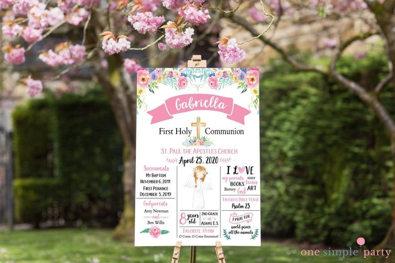 Custom Girl First Communion Poster Watercolor Floral First