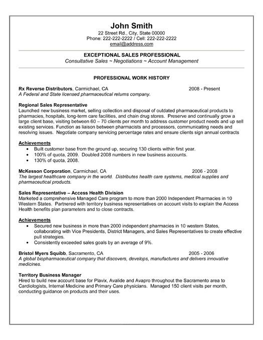 sample professional resume format