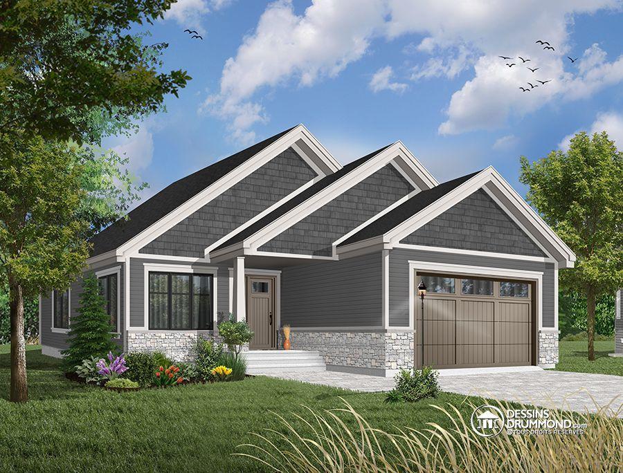 Plain de plain-pied avec garage pour terrain étroit, maison 32 pieds ...