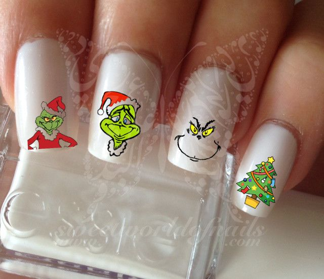 The Grinch Nail Art Nail Water Decals Transfers Grinch Art Nails