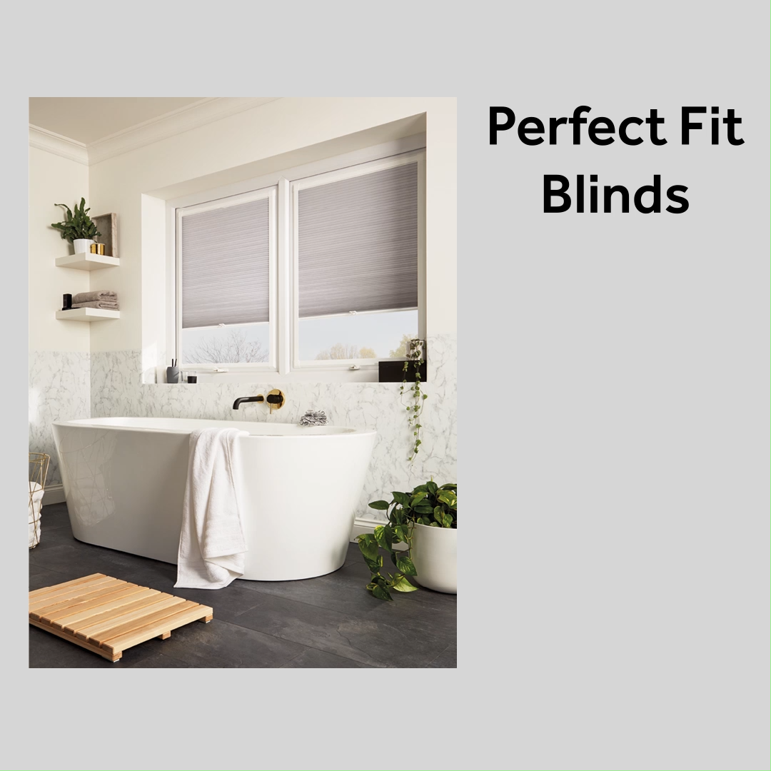 Perfect Fit blinds are one of the easiest ways to control light and privacy in your home! They require no screws or drilling and they are available in a range of fabrics, colours and patterns, including roller, pleated, wooden and venetian #perfectfit #blinds #windowcoverings #window #greyinterior #bathroomdecor #greydecor #perfectfitpleated #rollerblind #pleatedblind #woodenblind #madetomeasure #interiordesign #homestyle #homeinterior #homeideas #bathroomideas #bedroomideas #kitchenideas #home