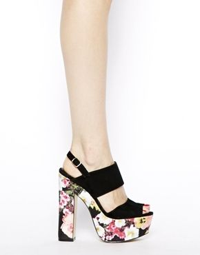 ae57a235a8 Image 4 of River Island Black Printed Chunky 2 strap Platform Sandals