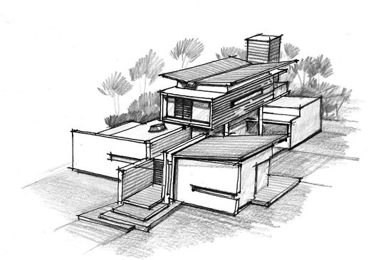 House of pavilions architecture paradigm house sketch for Architecture sketch