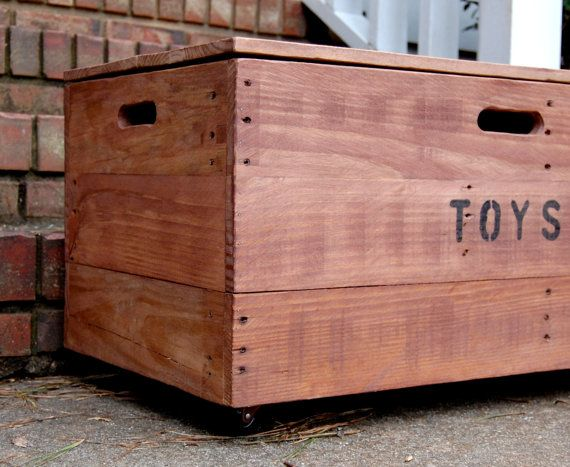 Wooden Crate Rolling Toy Chest/ Large By LooneyBinTradingCo, $245.00