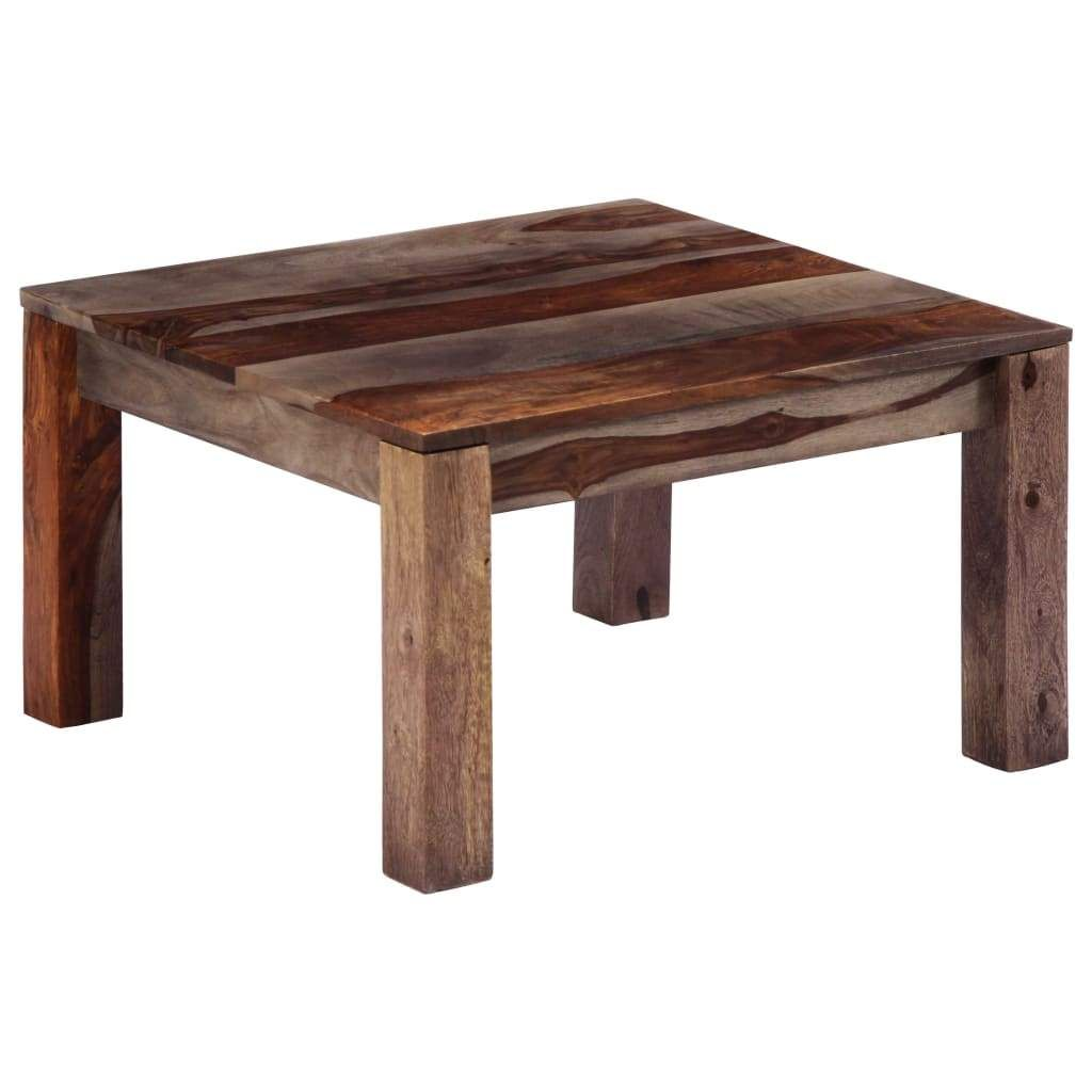 Table Basse Gris 60 X 60 X 35 Cm Bois De Sesham Massif Coffee Table Table Home Decor